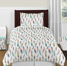 Sweet Jojo Bohemian Feather Coral Aqua Pink Gray & White Girl Twin Bedding Set