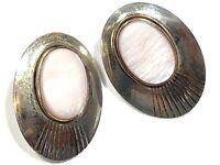 Beautiful VTG Ladies Sterling Silver Mother Of Pearl Earrings - A Must See!