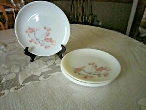 "Set 4 Vtg Pyrex Pink Dogwood Family Flair Set Dinner Plates ~9"" Diameter"