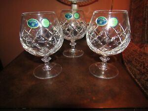 Bohemian Set of 3 Crystal Glasses Brandy, Cognac Snifters