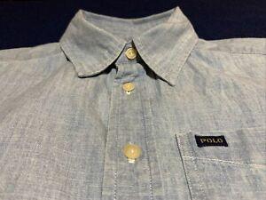 Boys Polo Ralph Lauren 10-12 Short Sleeve Blue Button Front Light Denim