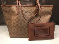 New Coach F36658 Reversible City Tote In Signature Coated Canvas NWT $350 MSRP