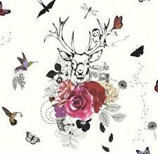 Arthouse Imagine Spellbound White & Multi Glitter Stag Birds - Wallpaper 665300