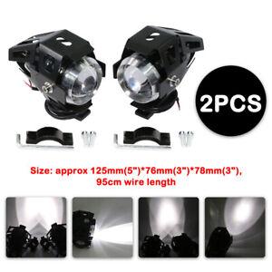 Pair 125W Motorcycle Bike Headlight Spotlight 3000LM U5 LED Spot Auxiliary Lamp