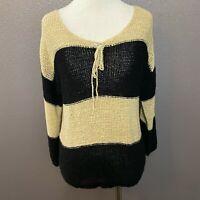 Ann Taylor LOFT Sz S Beige Black Striped Pullover Sweater Loose Knit 3/4 Sleeve