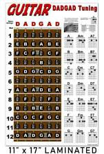 LAMINATED Guitar Chord Wall Chart Fretboard Poster for DADGAD Tuning Notes