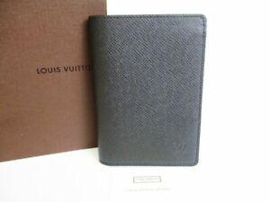 Auth LOUIS VUITTON Taiga Ardoise Black Leather Passport Holders ID Cases #8023