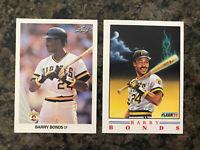 Barry Bonds 2-card lot 1)1990 Leaf #91 1)1991 Fleer Provision 1of 4 Pirates