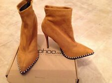 Boohoo Tan Ankle Sock boot, faux suede fabric with pearl studs size 6