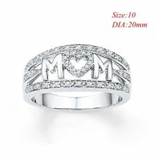 925 Sliver Ring Crystal Rhinestone Heart Mom Ring Best Gift Mother Band Rings 10