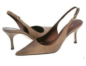 New ANNE KLEIN Women Leather Pointy Toe High Heel Slingback Pump Shoe Sz 8.5 M