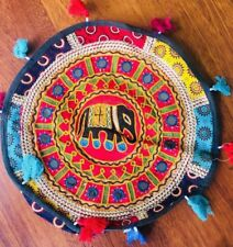 Bean Bag Pouf Cover Indian Patchwork Handmade Cotton Floor Footstool 40cm Red