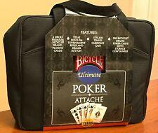 Bicycle Poker Set Attache 500 Chips Dealer Button 2 Card Decks Canvas Case NEW