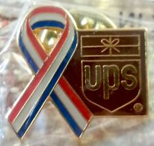 United Parcel Service (small) Red, White, & Blue Ribbon with UPS Logo Lapel Pin