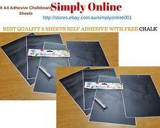 8 Sheet A4 Adhesive Blackboard Removable Vinyl Wall Sticker Chalkboard
