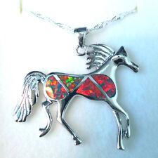 GORGEOUS RAINBOW  FIRE OPAL/WHITE TOPAZ  HORSE  . PENDANT