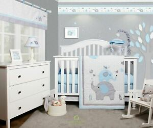 OptimaBaby 7PCS Blue Grey Elephant Baby Boy Bedding Sets with Musical Mobile