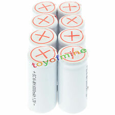 8x Sub C SubC With Tab 6000mAh 1.2V Ni-MH Rechargeable Battery White High Power