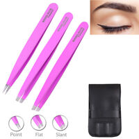 Professional Eyebrow Tweezers Hair Beauty Stainless Steel Tweezers Set + Case