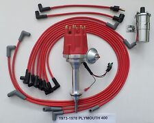 small cap PLYMOUTH 73-78 400 RED HEI Distributor + Chrome Coil +Spark Plug Wires