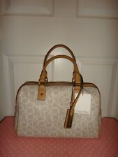 CALVIN KLEIN Women's CK Signature Satchel Bag Purse White Vanilla PVC Beige Gold