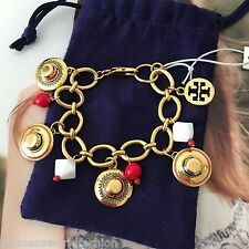 Tory Burch 16k Gold Plated Payton Charm Bracelet Chain Beads NWT 51135828 $195