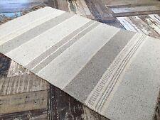 ❤️Grey Tones Chunky Stripe Cotton & Jute Rug Fringing 90cm x 150cm Flat Weave