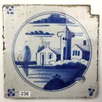 "Antike Fliese Kachel Delfter dutch tile "" Landschaptstegel "" 18./19. Jhd. Blau"