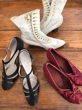 Vintage 1920's Satin Flapper Shoes 1 Black 1 Dark Red