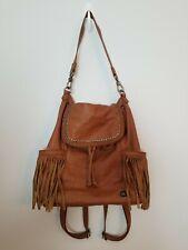 The Sak Brown Leather Large Backpack Convertible Purse Boho Fringe Shoulder Bag