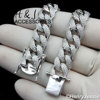 """24""""MEN 925 STERLING SILVER 12MM BLING MIAMI CUBAN CURB LINK CHAIN NECKLACE*SN12"""