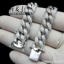 "20""MEN 925 STERLING SILVER 12MM ICED BLING MIAMI CUBAN CURB CHAIN NECKLACE*SN12"