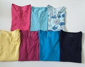 Talbots Cotton Short Sleeve V Neck Top T Shirt Multiple Colors/Sizes