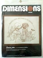 Vintage Dimensions Beautiful Times Crewel Hand Embroidery Kit girl boy bird