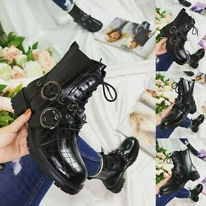 LADIES WOMENS MILITARY STUD BOOTS ARMY COMBAT ANKLE LACE UP FLAT BIKER ZIP SHOES