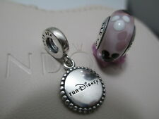 "Two Disney Pandora Charm ""I Did It"" Run Pink Minnie Mouse Disney Park Bead Charm"