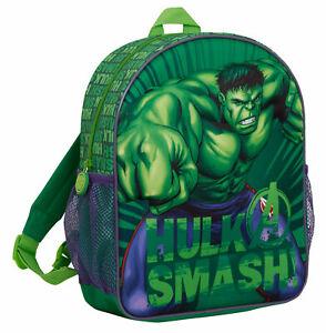 Boys 3D Incredible Hulk Backpack Kids Marvel Avengers School Travel Rucksack Bag