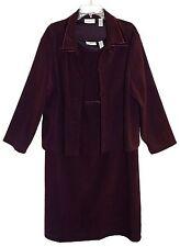 Sz 18 AMANDA SMITH Jacket & Dress Stretch Dark Purple Velveteen Trim Poly/Spandx