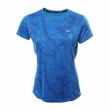 Women's Nike DF Miler SS Print Top Sz S-M Blue/Blue 904887-435 FREE SHIPPING