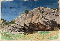 Impressionist Karl Adser 1912 Landscape With Rock And Crow Samos Greece