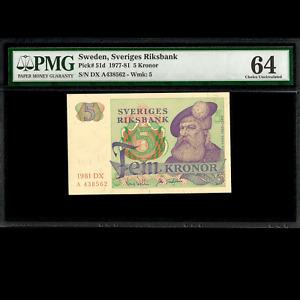 Sweden Sveriges Riksbank 5 Kronor 1981 PMG 64 CHOICE UNCIRCULATED P-51d