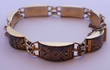 Vintage Damascene Bracelet Gold and Black Etched Asian Middle East Style