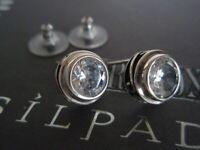 SILPADA RARE Sterling Silver 925 Scroll Bezel Cubic Zirconia CZ Earrings P1232