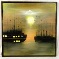 Vintage Oil On Canvas Night Nautical Ships Moonlight Signed Large Painting 37x37
