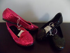 Girls Sz 12,13,2,2.5,3,3.5,4,4.5,5 Hot Pink or Black Glittery Casual Dress Shoes
