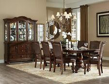 NEW 9PC LORDBOURG FORMAL TRADITIONAL BROWN CHERRY LEATHER WOOD DINING TABLE SET