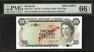 Bermuda 20 Dollars 1974 SPECIMEN PMG 66 EPQ UNC Pick# 31s S/N A/2 744827