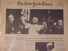 VINTAGE NEWSPAPER HEADLINE~ROME CATHOLIC CHURCH POPE JOHN PAUL II TOURS NEW YORK