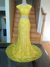 JOVANI 24241 Yellow 2PC Lace Prom Pageant Formal Dress Gown  4