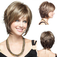 Short Blond Hair Wig Synthetic Hair Natural Full Wigs Cosplay Party Costume US